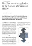 Fluid flow sensor for application in the food and pharmaceutical