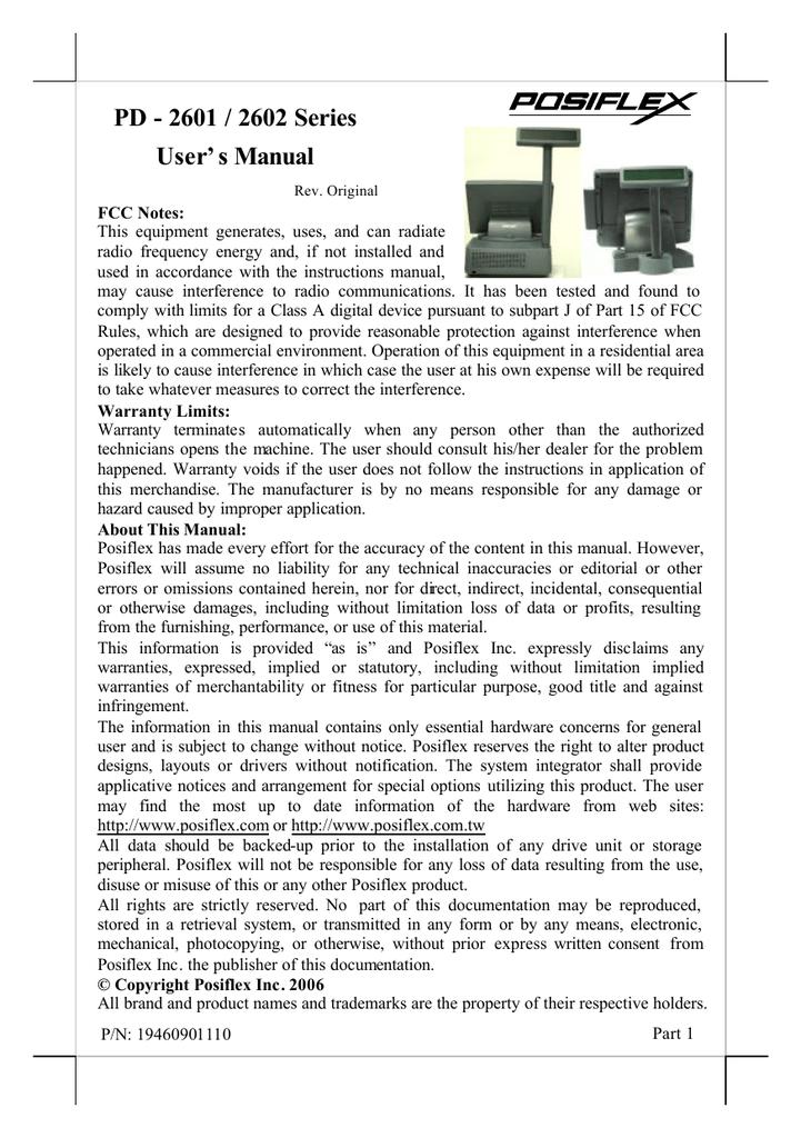 PD - 2601 / 2602 Series User`s Manual