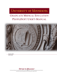GME PeopleSoft User`s Manual - Graduate Medical Education