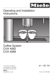Operating and Installation Instructions Coffee System CVA 4062