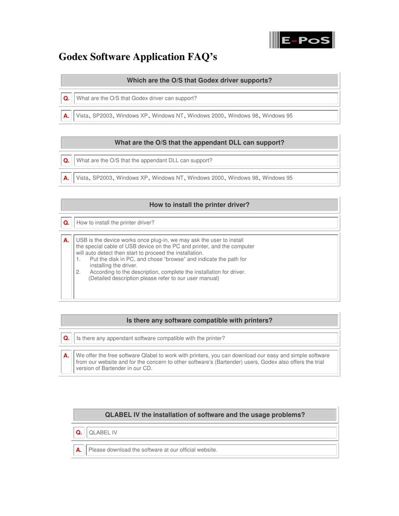 Godex Software Application FAQ`s - E-POS