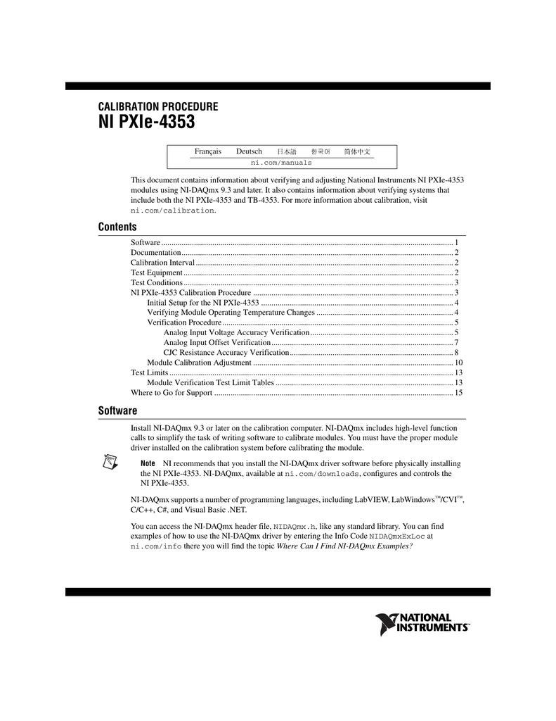 NI PXIe-4353 Calibration Procedure