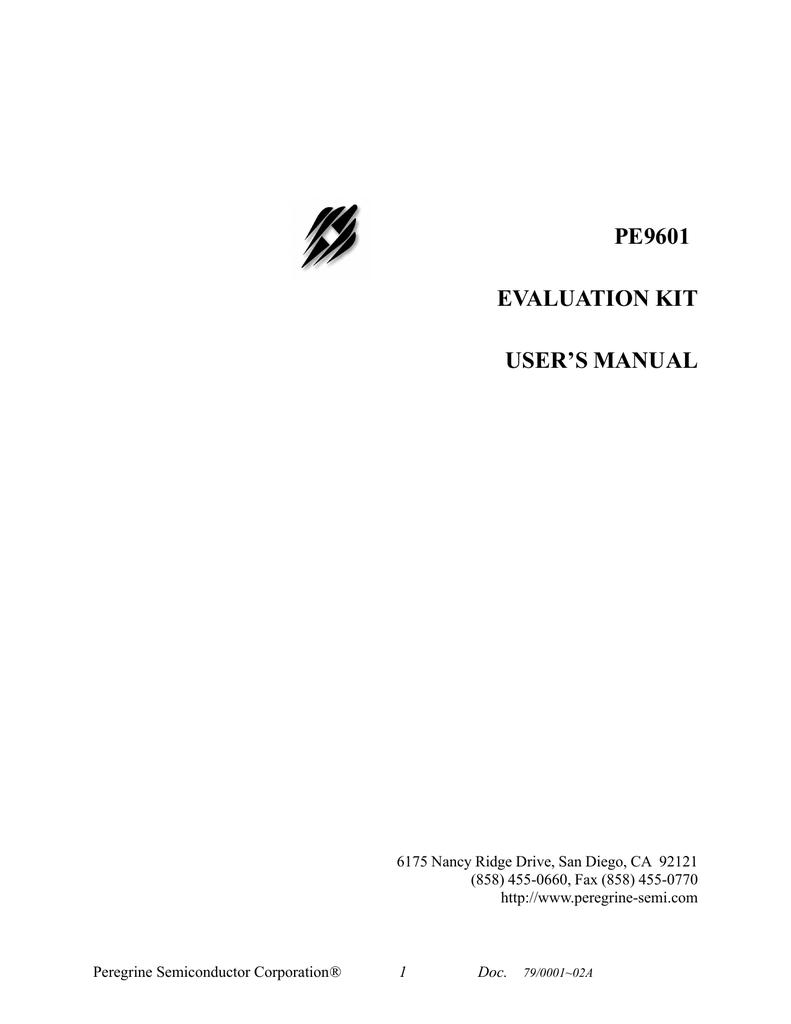 Pe9601 Evaluation Kit Users Manual