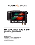 Sound Devices PIX 220i, 240i, 220, 240 User Guide and Technical