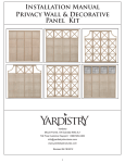 Installation Manual Privacy Wall & Decorative Panel Kit