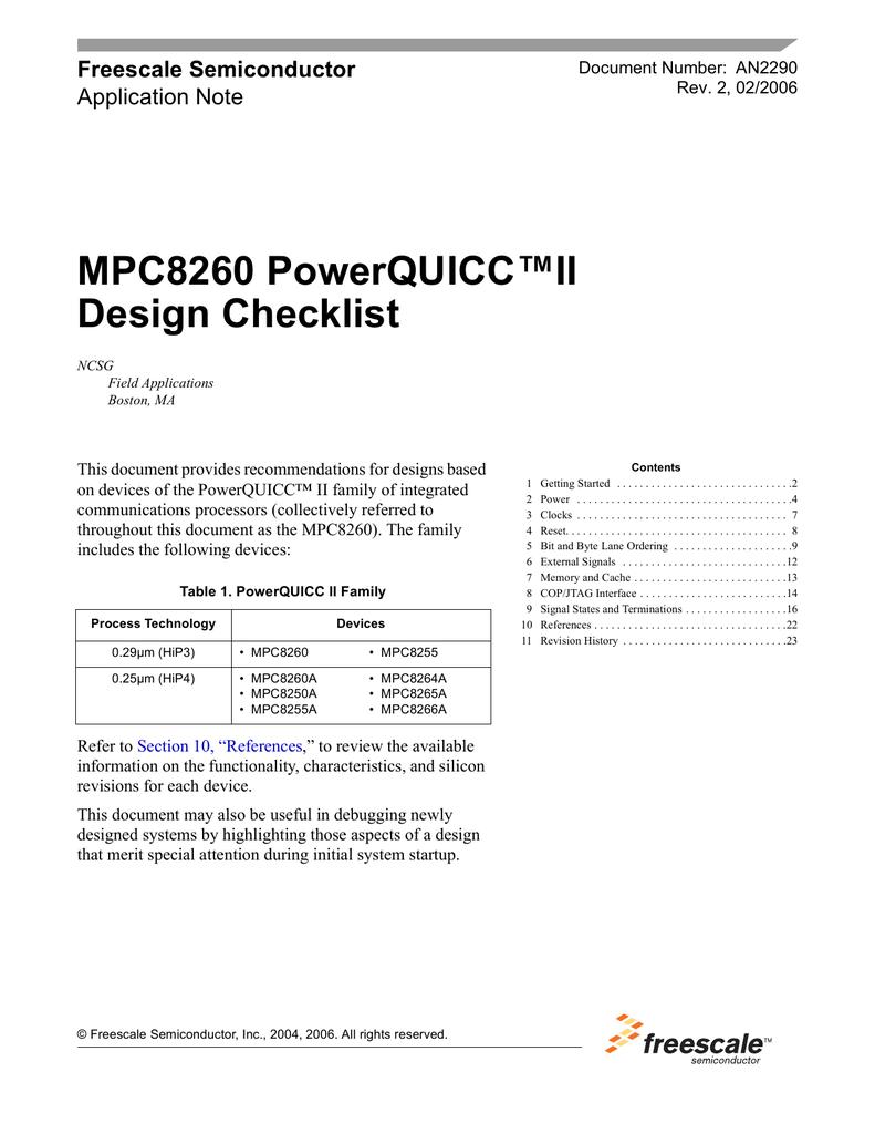 AN2290 MPC8260 PowerQUICC II Design Checklist
