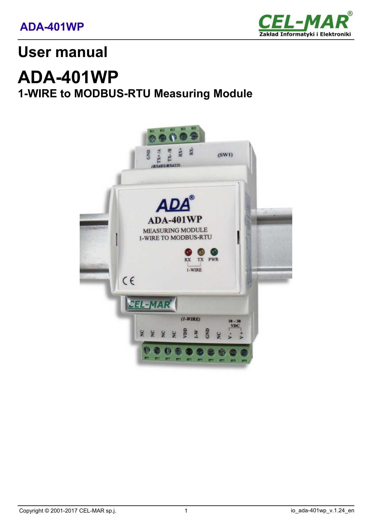 1 Wire To Modbus Rtu Measuring Module Ada 401wp Cel Mar Wiring