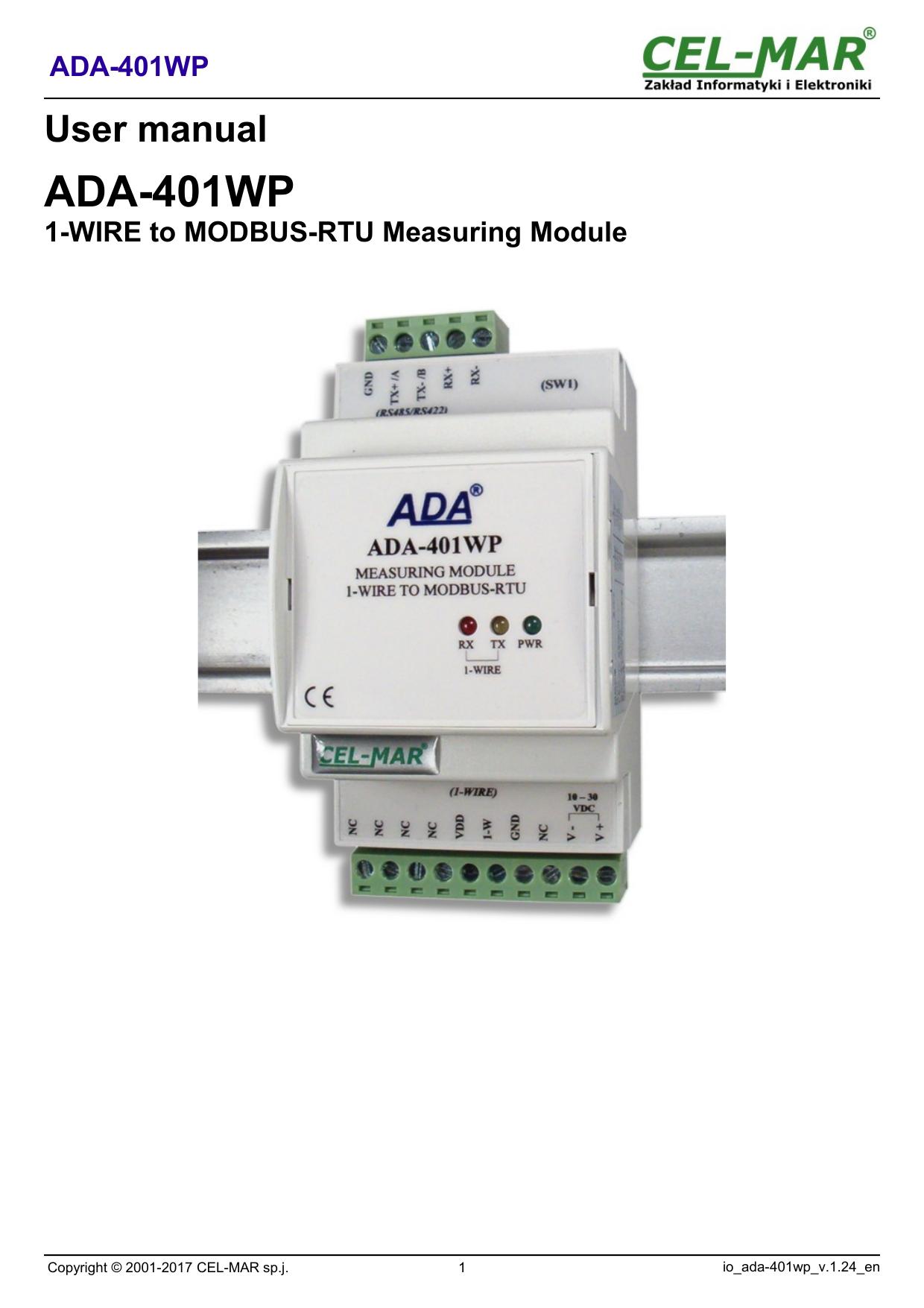 1 Wire To Modbus Rtu Measuring Module Ada 401wp Cel Mar Wiring
