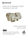 IntelliFlo Variable Speed Installation and User`s Guide