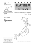 RESISTANCE SYSTEM EXERCISER User`s Manual