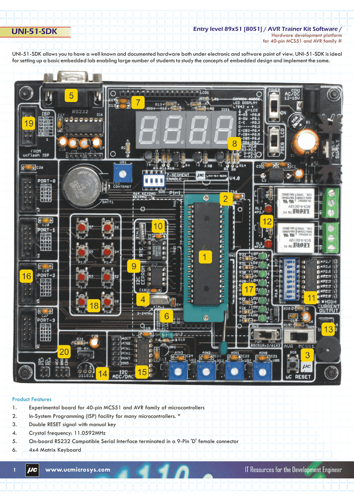 Uni 51 Sdk Mkii Product Flyer Isp Pc Software For Programming This At89s51 52 Microcontroller Can Be
