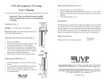 UVL-4F Longwave UV Lamp User`s Manual