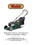 operator`s manual and parts list petrol