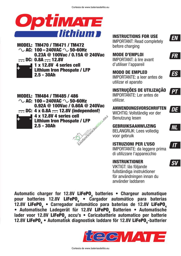 Manual Instrucciones Cargador Baterias Optimate Lithium Tm470