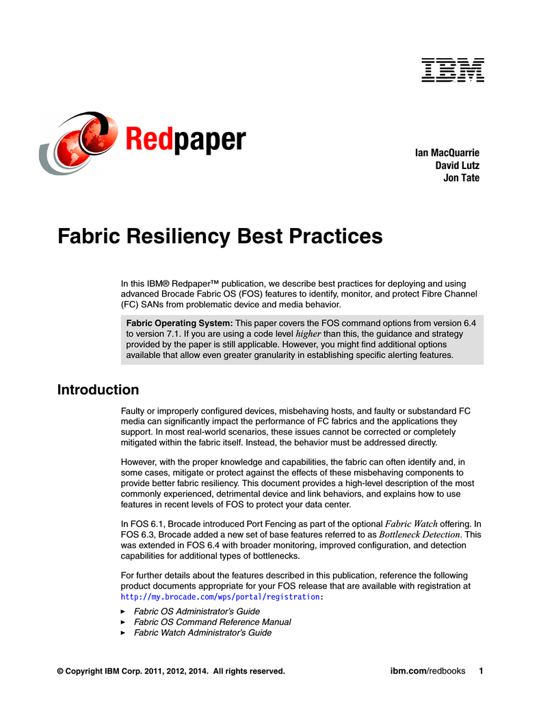 Fabric Resiliency Best Practices