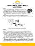 SOLAR PUMP KIT USER`S MANUAL