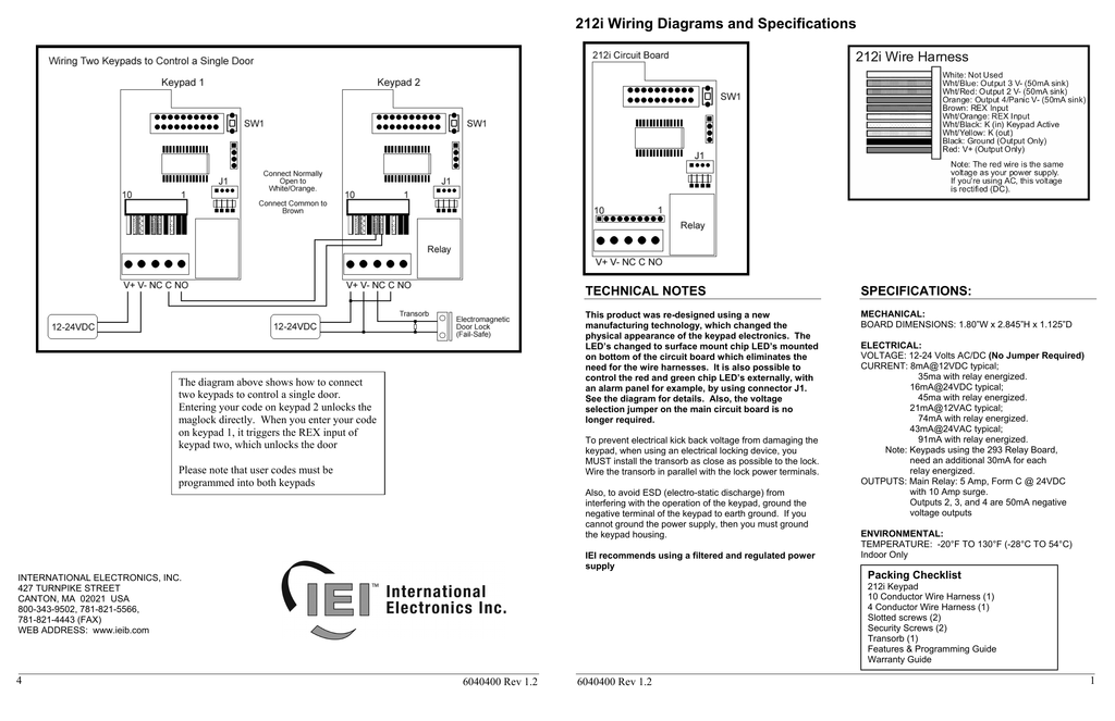 212i Wiring Diagrams And Specifications