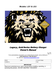 Legacy Gold Charger Manual - Models LG1 and