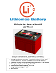 12V Engine Start Battery w/NeverDIE User Manual
