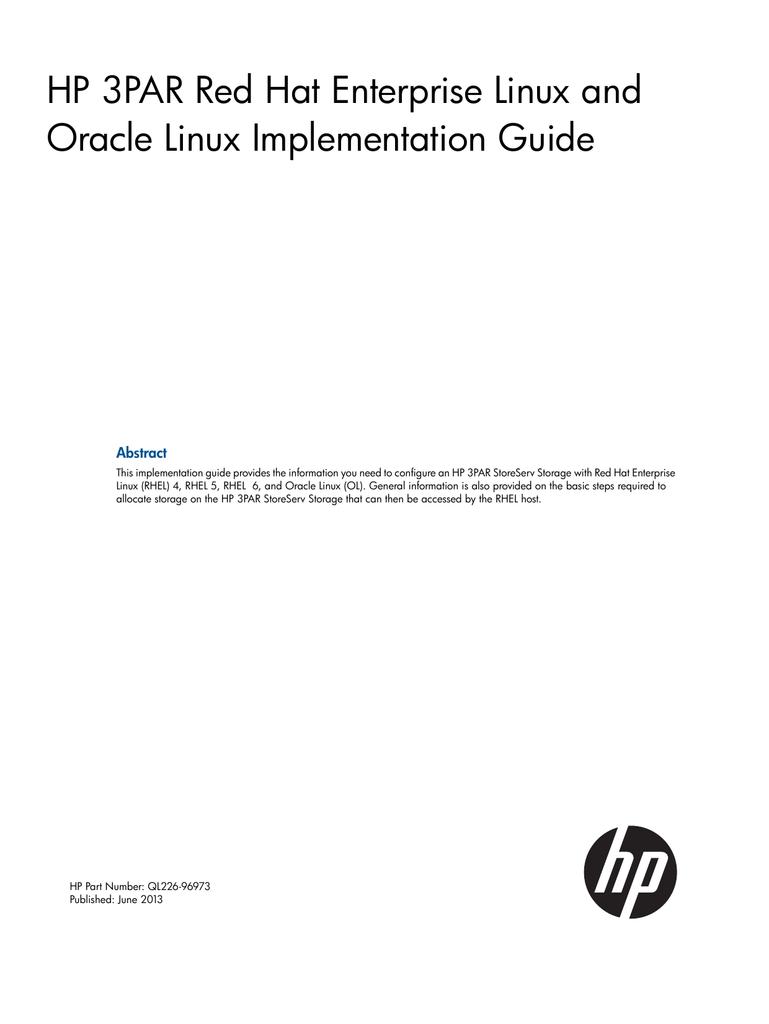 HP 3PAR Red Hat Enterprise Linux and Oracle Linux