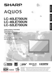 Sharp LC-46LE700 user manual Tv User Guide Manual Operating