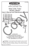 MODEL #65001 Metal Utility Trailer User`s Manual and Maintenance