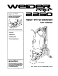 WEIGHT SYSTEM EXERCISER User`s Manual