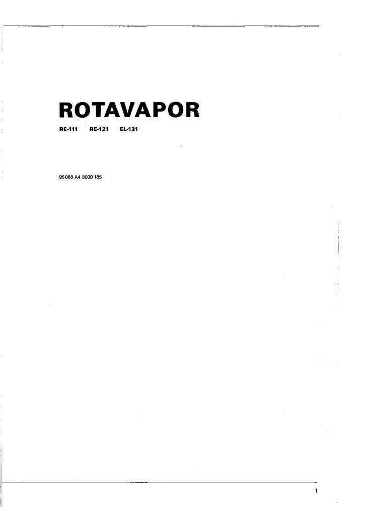 Buchi Rotavapor RE 111 121 EL131 manual ENG D F