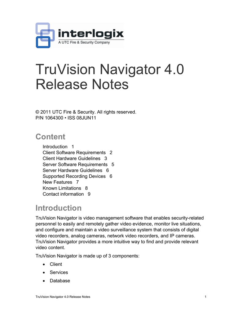 TruVision Navigator 4 0 Release Notes