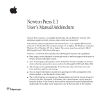 Newton Press 1.1 User`s Manual Addendum