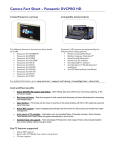 Camera Fact Sheet – Panasonic DVCPRO HD