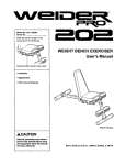 WEIGHT BENCH EXERCISER User`s Manual