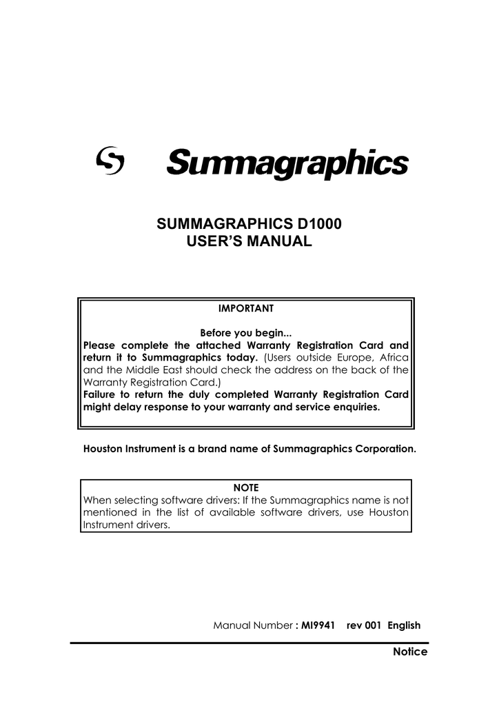 summagraphics d1000 user`s manual