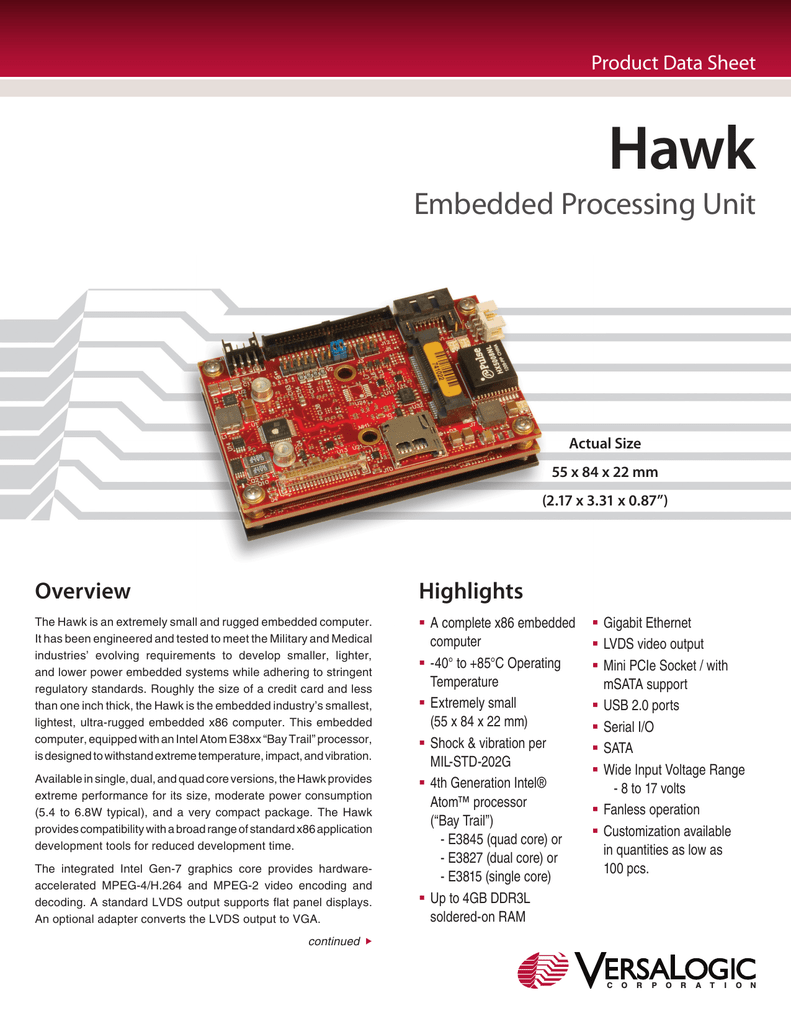 Hawk Low-power x86 Embedded Processing Unit Data