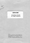 GEN/ONE Genlocking Encoder for Amiga Computers User`s Manual