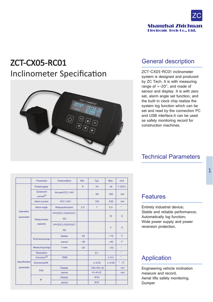 Zct Cx05 Rc01 Inclinometer Specification Wiring Diagram