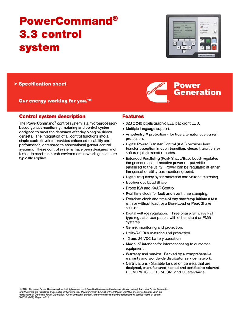 PowerCommand® 3 3 control system