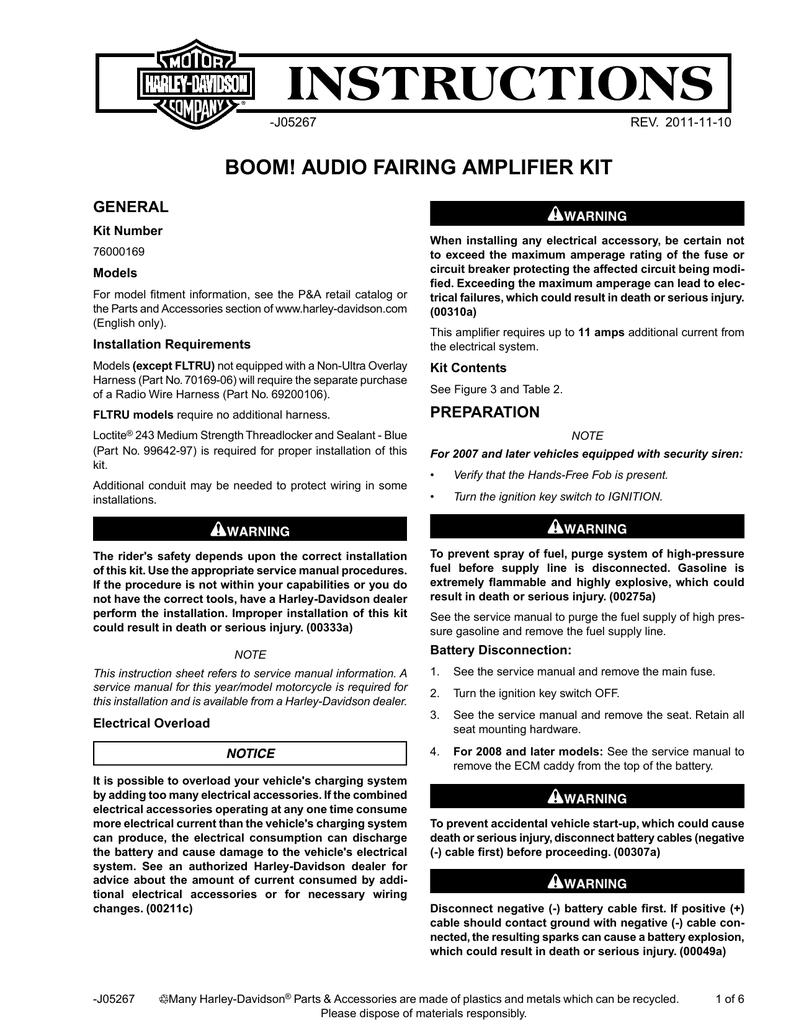 boom audio fairing amplifier kit instruction sheet harley rh manualzilla com Harley Boom Audio 76262 08 2014 harley boom audio manual
