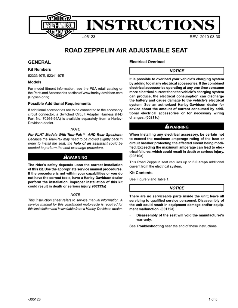 Road Zeppelin Air Adjustable Seat Instruction Harley Wire Harness Schematic Zumo 665