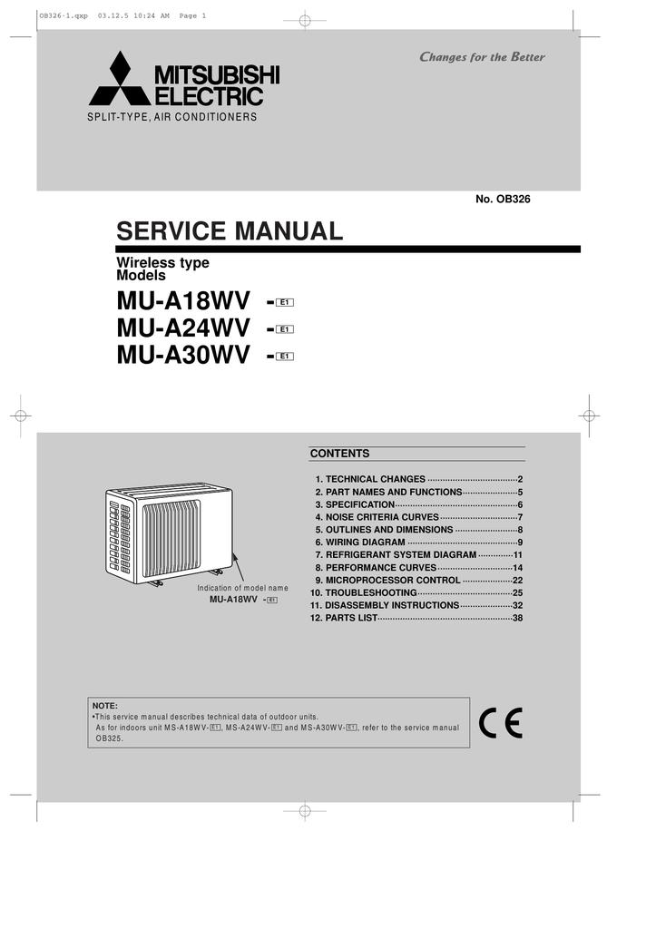 Service Manual Mu A18wv A24wv A30wv Mitsubishi Electric Wiring Diagram