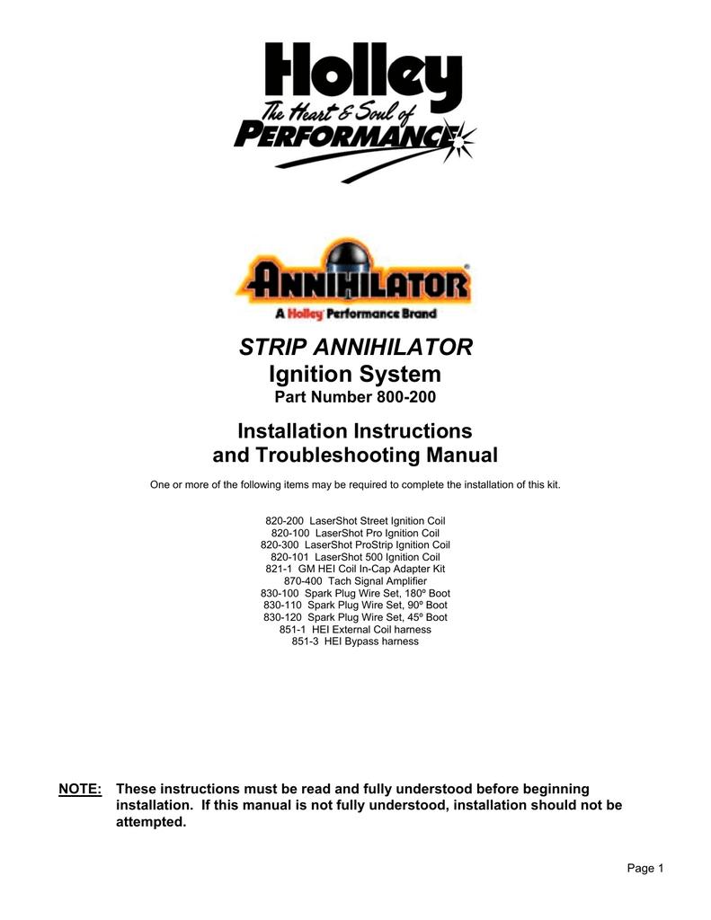 Holley Strip Annihilator 800 200 User Manual Gm Hei Tach Wiring