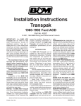 Installation Instructions Transpak