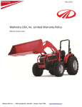 Mahindra USA, Inc. Limited Warranty Policy