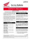 Leakage brake recall - Honda Goldwing GL1500