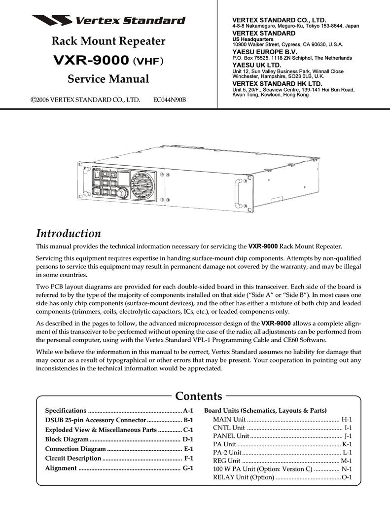 VXR-9000 VHF Repeater Service Manual
