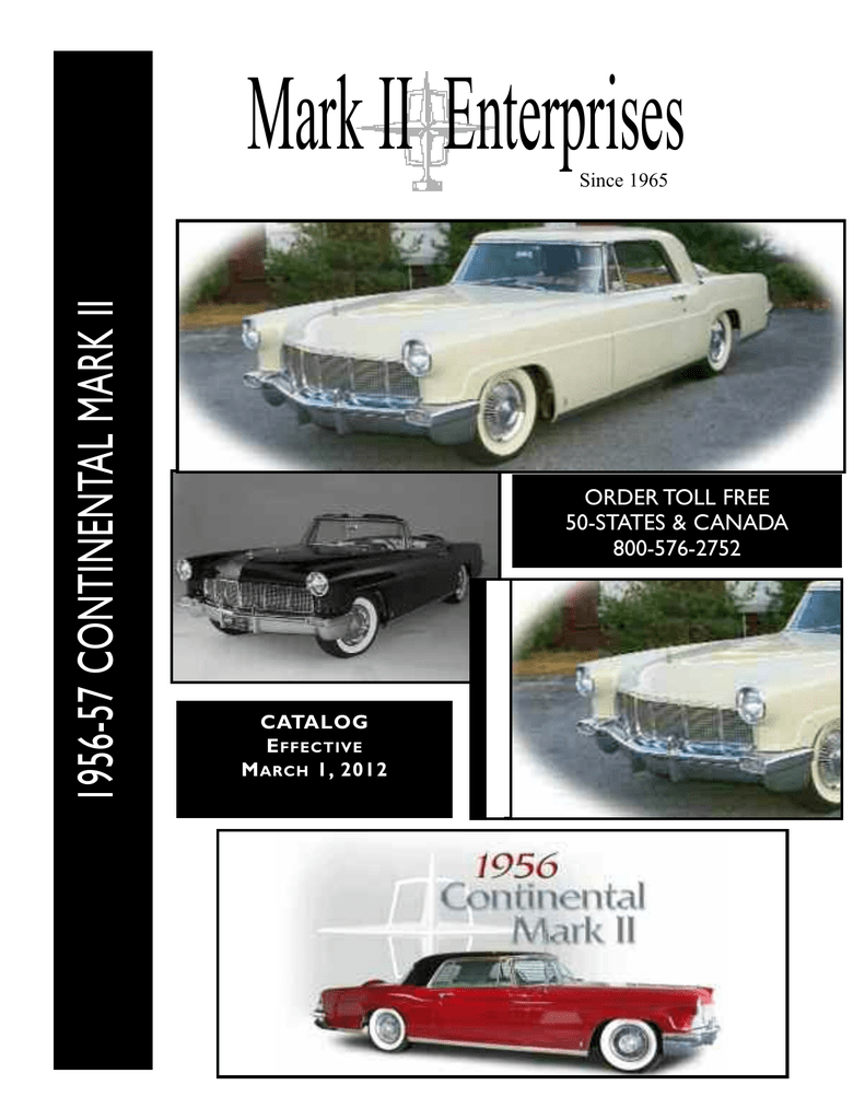 1956 Continental Mark II Decal Set Without Air Conditioning 9-Piece Set