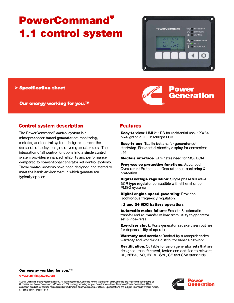 PowerCommand® 1 1 control system - Power Suite