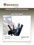 operator`s and parts manual 2030 tree spade
