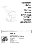 Operator`s Safety and Service Manual GPR135DE (DIESEL