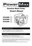 Gasoline Water Pump Owner`s Manual